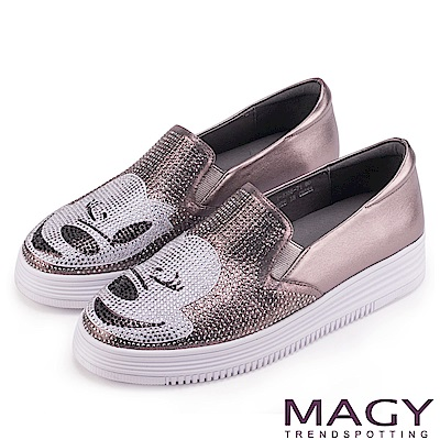 MAGY 輕甜休閒時尚 趣味卡通鑽飾牛皮厚底休閒鞋-銀灰