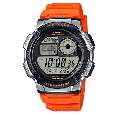 CASIO 世界之城電子數位膠帶錶(AE-1000W-4B)-橘色/43.7mm