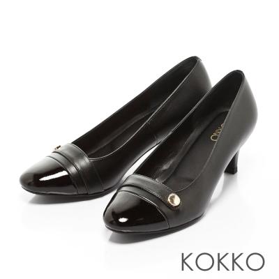 KOKKO-女紳時髦方頭真皮拼接圓扣高跟鞋-黑