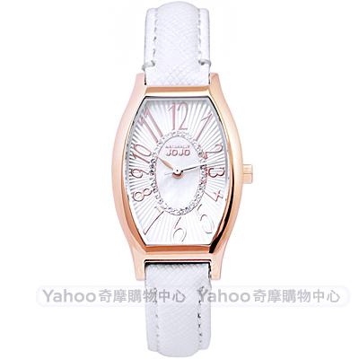 NATURALLY JOJO璀璨晶鑽珍珠貝時尚手錶-白X玫瑰金/24mm