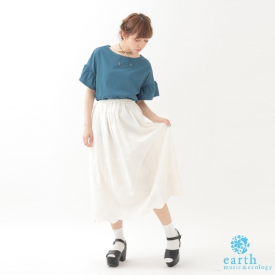earth music 甜美花邊刺繡打摺長裙