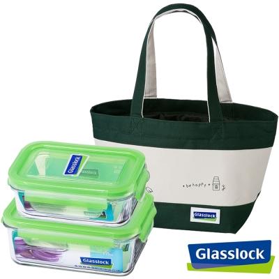 (買一送一)Glasslock強化玻璃微波保鮮盒-人氣便當3入組