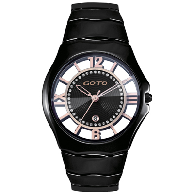 GOTO 羅馬戀曲晶鑽陶瓷裸空時尚手錶-黑/39mm