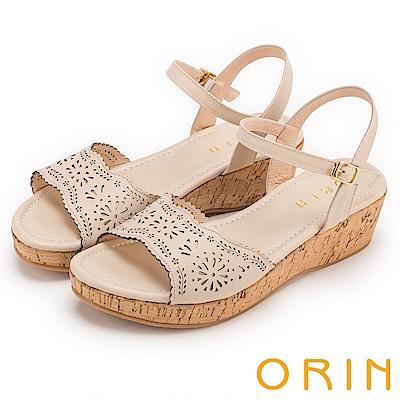 ORIN 夏日渡假 寬版造型簍空皮革軟木塞楔型涼鞋-粉膚