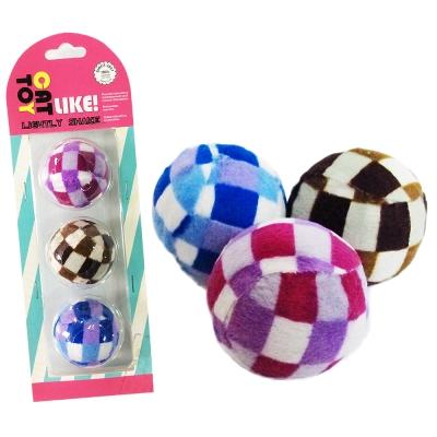 寵喵樂 格子絨布球3顆/組