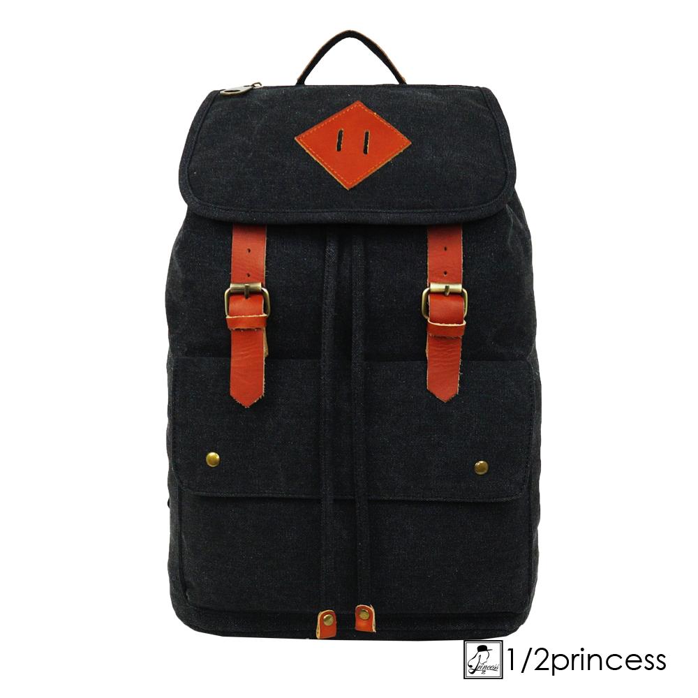 1/2princess獨家訂製款水洗帆布簡約真皮雙扣後背包-黑色[A2123](快)