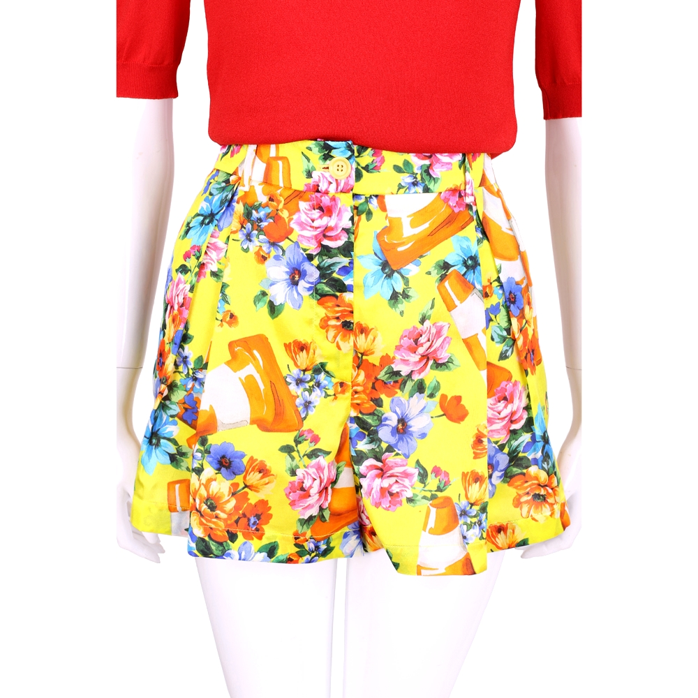MOSCHINO 黃色三角錐圖印花朵印花打摺短褲