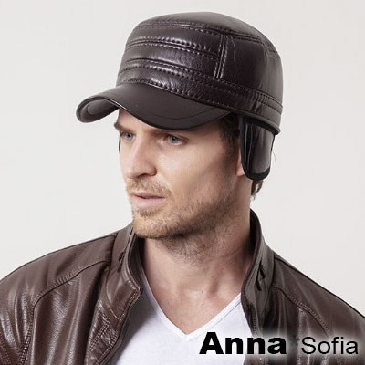 AnnaSofia 平頂加厚護耳兩用 棒球帽軍帽(墨咖系)