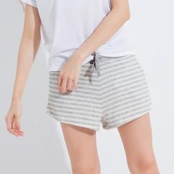 101原創 繫繩條紋家居短褲-白