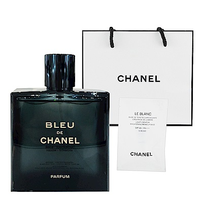 CHANEL香奈兒 藍色男性香精50ml + 提袋及美妝小物
