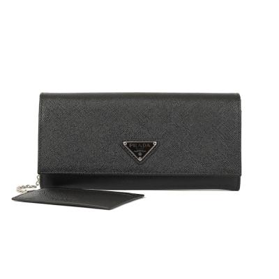 PRADA SAFFIANO 防刮皮革附證件卡釦式長夾(黑色)