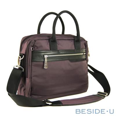 BESIDE-U-Platinum系列商務護肩筆電公事包-沉穩紫