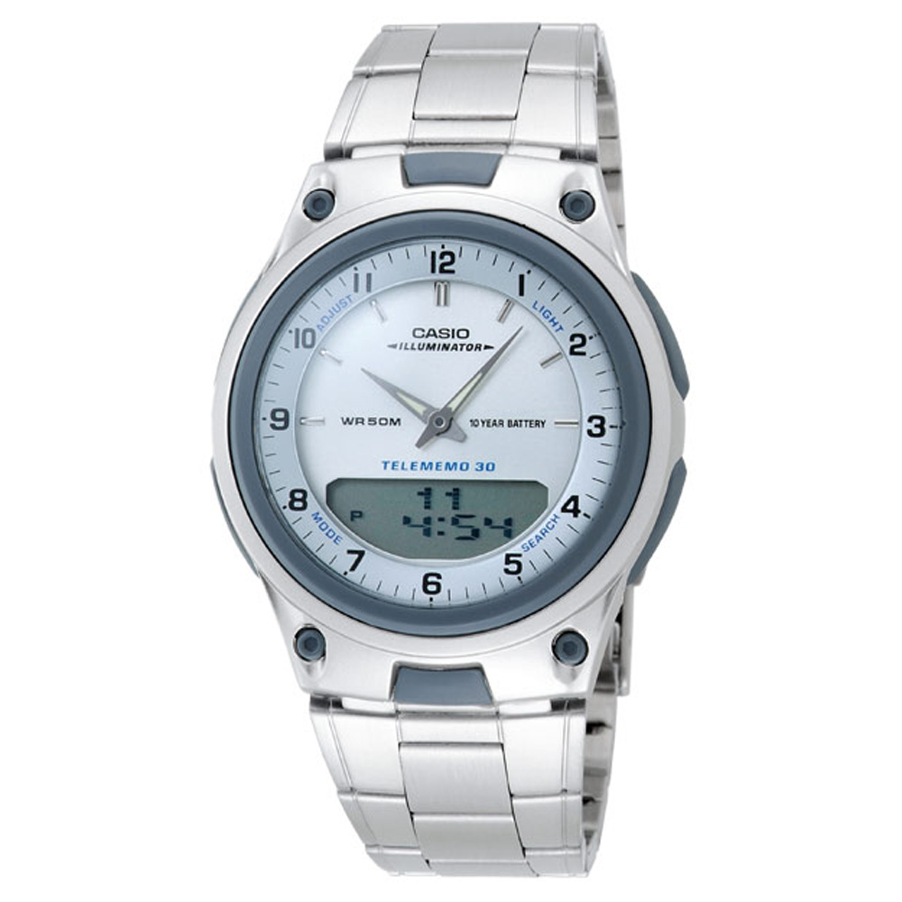 CASIO 都會時尚雙顯腕錶(AW-80D-7A)-銀白/40mm