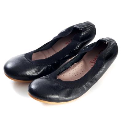 G.Ms.旅行女孩II-金屬羊皮鬆緊口可攜式軟Q娃娃鞋(附鞋袋)-質感黑