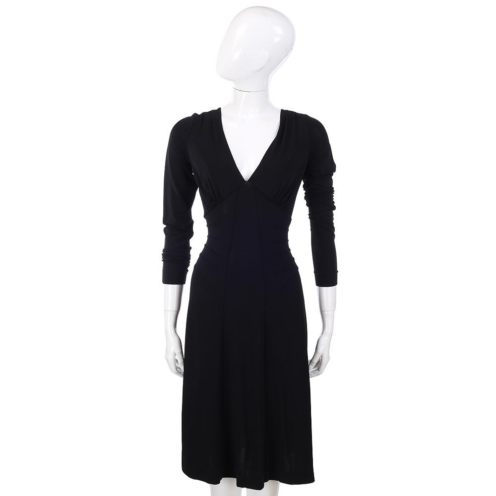 PHILOSOPHY-AF 黑色V領七分袖洋裝