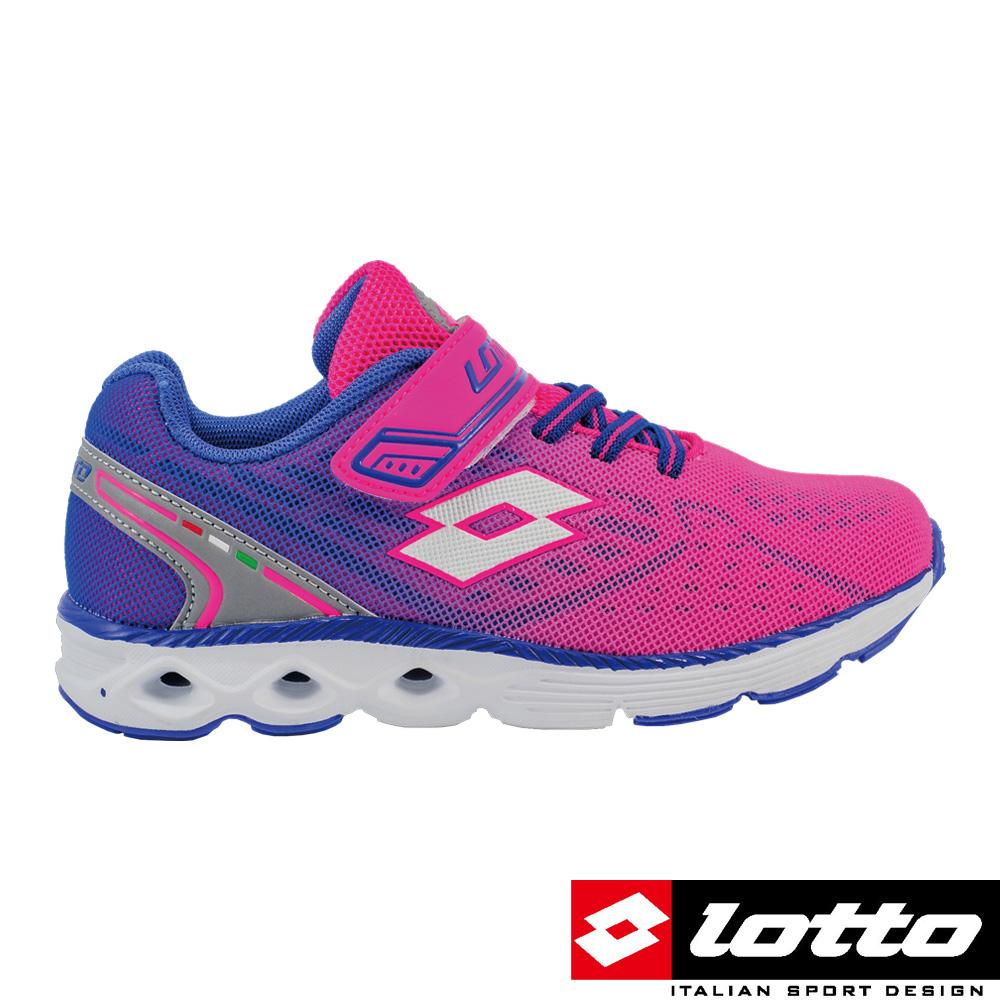 LOTTO義大利女中童4D風動跑鞋粉紅藍漸層