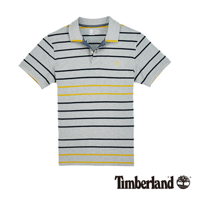 Timberland-男款灰色細條紋短袖POLO衫