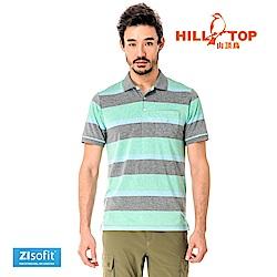 【hilltop山頂鳥】男款吸濕排汗抗UV彈性POLO衫S14MF6-灰混紡