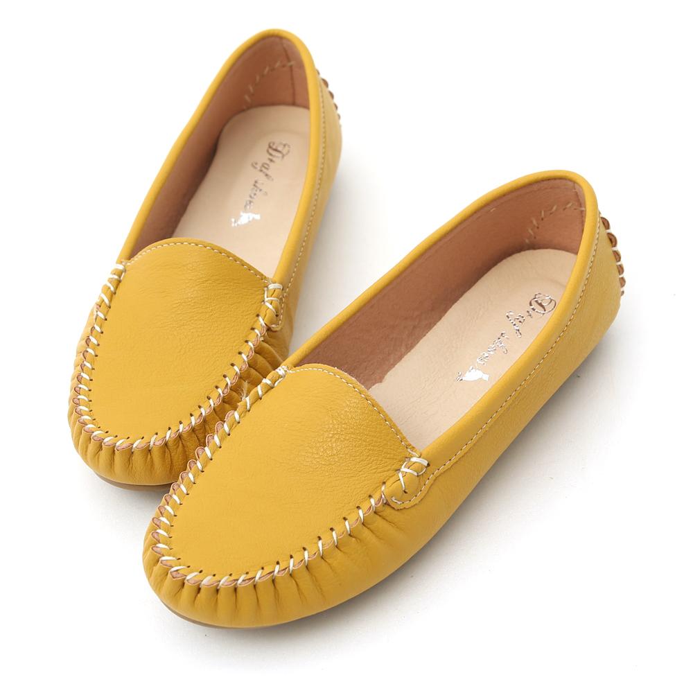 D+AF 舒適首選‧MIT素面莫卡辛豆豆鞋*黃
