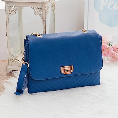 MARC ROCOO-繆思女神斜紋側背鏈帶包-127-蔚海藍