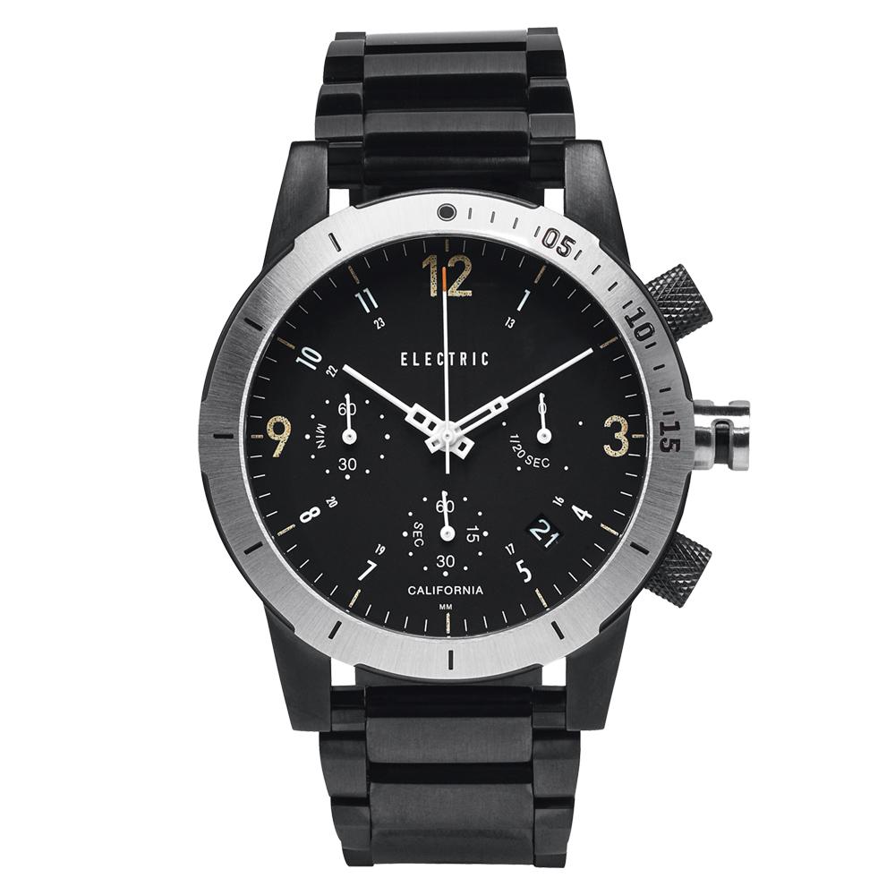 ELECTRIC FW02系列-復古強悍三眼計時腕錶-黑面x黑鋼帶/44mm