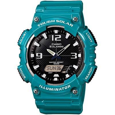 CASIO 型男個性太陽能雙顯錶(AQ-S810WC-3A)-黑面/藍綠錶帶/46.6mm