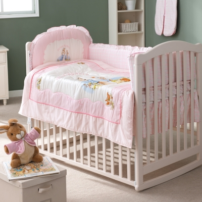 奇哥-白色大床-粉彩比得兔6件床組-粉紅