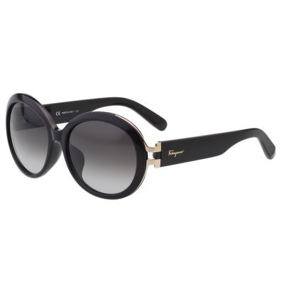 Salvatore Ferragamo- 復古圓框 太陽眼鏡(黑色)SF799SA