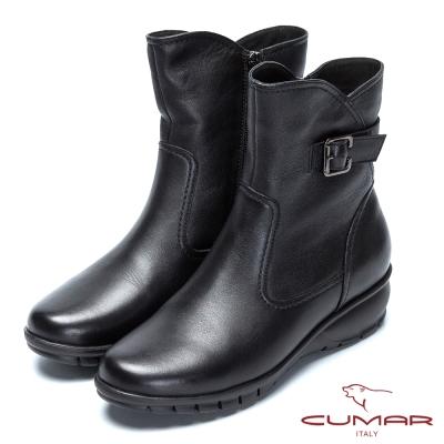 CUMAR舒適氣墊 舒適大底真皮短靴-黑