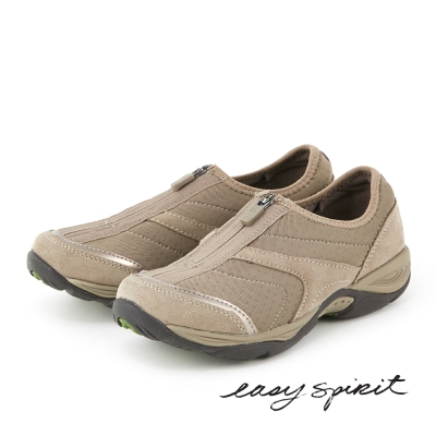 Easy Spirit --異材質拼接拉鍊休閒走路鞋 -實搭駝