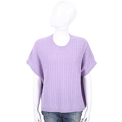 ALLUDE 100%喀什米爾淺紫色粗麻花針織衫