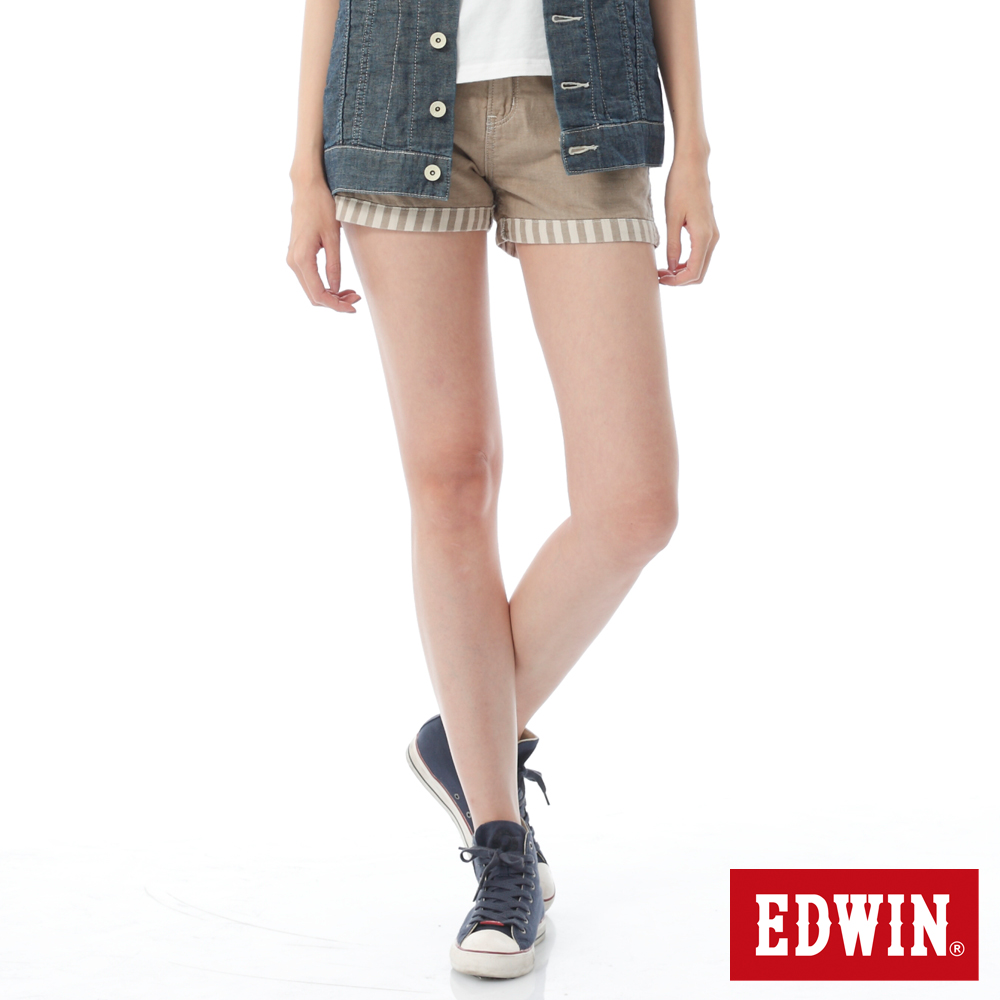 EDWIN MISS 503反摺條紋棉麻短褲-女-淺卡其