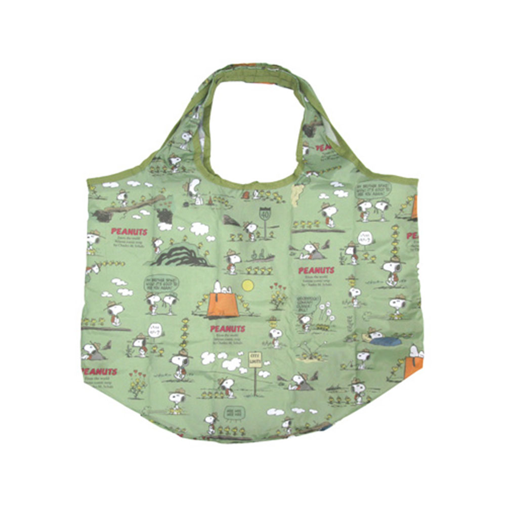 Sanrio SNOOPY可折疊好攜帶環保購物袋(快樂露營綠)