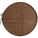 LOEWE 編織壓紋小牛皮圓形零錢包(咖啡色)