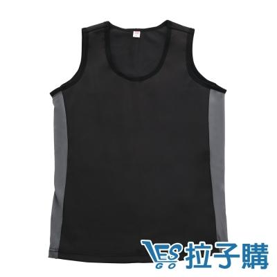 束胸-黑灰拼色無袖套頭泳衣褲組-黑-S-XXL-L