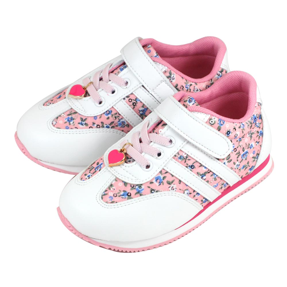 Swan天鵝童鞋-中童-花布愛心吊飾輕量運動鞋 0416-粉