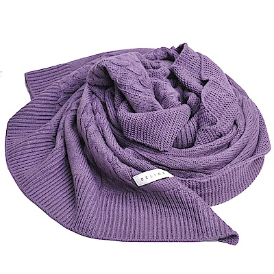 CELINE 品牌字母圖騰LOGO日本製麻花紋混喀什米爾披肩圍巾(紫色系)