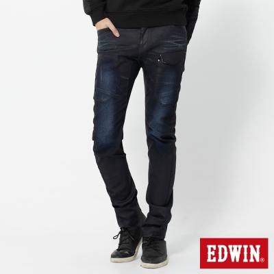 EDWIN-窄直筒-E-F貼袋機能3D牛仔褲-男-原藍磨