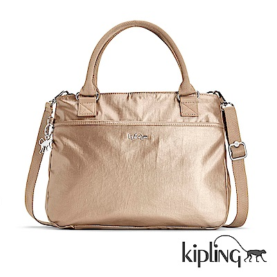 Kipling 手提包 浪漫香檳金-大