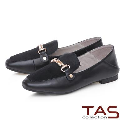 TAS 金屬飾扣馬毛拼接踩腳樂福鞋-實搭黑