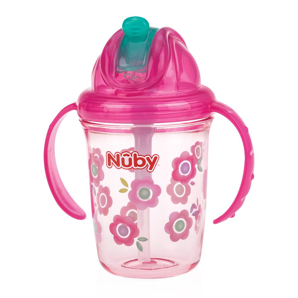 Nuby 晶透雙耳學飲杯細吸管240ml-粉(12M+) | 學習杯/水杯| Yahoo奇摩購物中心