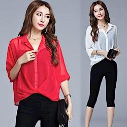 La Belleza襯衫領下擺反折雪紡襯衫上衣加細肩背心兩件式