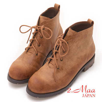 2.Maa - 率性簡約繫帶復古粗跟短靴-棕