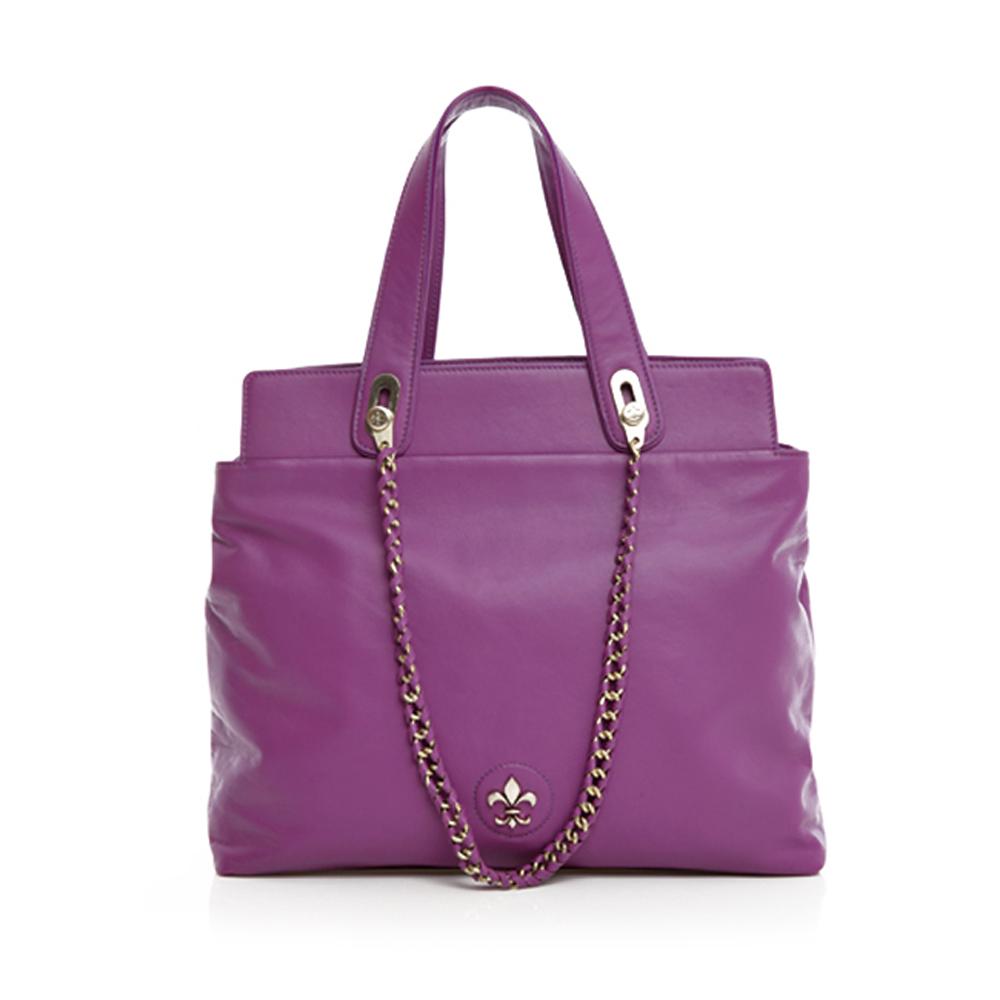 【義大利BGilio】- 經典高質感小羊皮鍊帶包(大款) - 紫色 1699.001