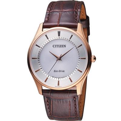 CITIZEN 高雅紳士光動能腕錶(BJ6483-01A)-銀x玫瑰金框/37mm
