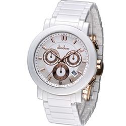 Diadem 黛亞登巴黎時尚計時陶瓷腕錶-白/41mm