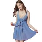 思薇爾 迷漾花園系列蕾絲性感連身小夜衣(英國藍)