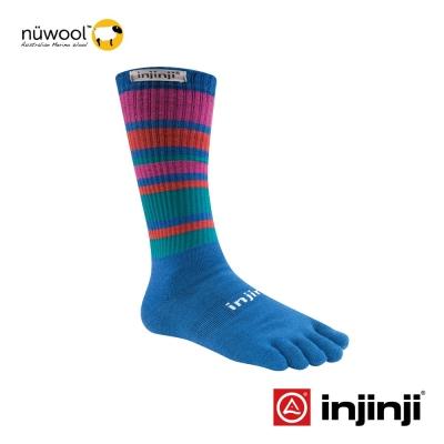 【Injinji】Outdoor戶外羊毛五趾中筒襪-天藍/紅