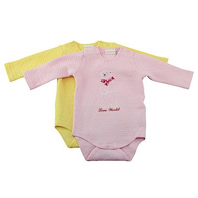 愛的世界 針織提花連身衣2件包-粉+黃/3M~1歲