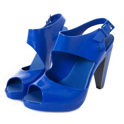 MELISSA-時尚結構高跟鞋-寶藍